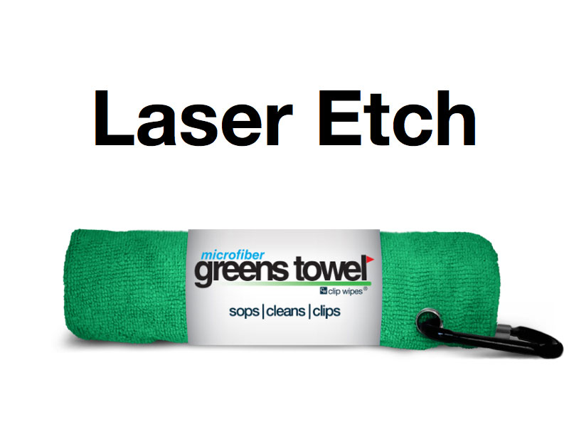 Laser Etch Custom Logo Microfiber Golf Towel Green