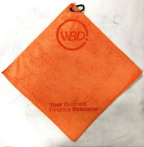Orange golf towel custom laser etch 2 logos