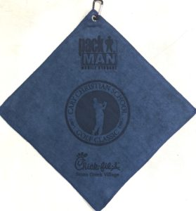 Navy blue golf towel three custom laser etch logos