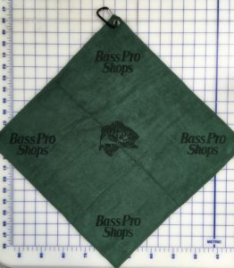 Forest green golf towel custom laser etch logo multiple logos