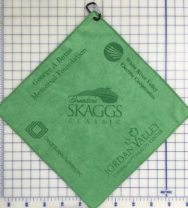 Green golf towel five custom laser etch logos