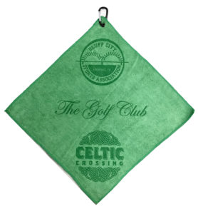 Green golf towel 2 custom laser etch logos