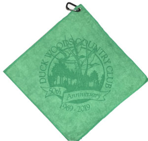 Green golf towel custom laser etch logo oversized