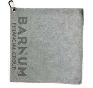 Gray Golf Towel Custom Laser Etch Logo Seam