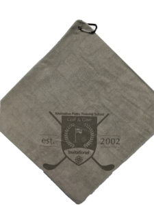Gray Golf Towel Custom Laser Etch Logo corner