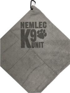 Gray Golf Towel Custom Laser Etch Logo under Clip