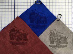 Mix colors golf towels custo laser etch logo