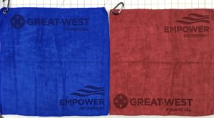 Mixed color golf towels custom laser etch 2 logos