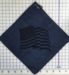 Navy blue golf towel custom laser etch oversize logo