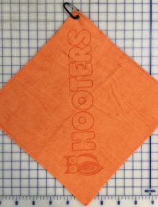 Orange Golf towel custom etch logo centered