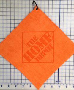 Orange golf towel custom laser etch oversize logo