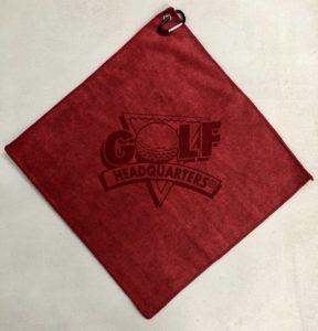Red golf towel custom laser etch logo