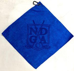 Royal blue golf towel custom laser etch oversize logo
