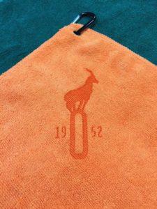 Custom Logo Microfiber golf towel orange laser etch