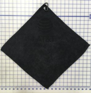 Black golf towel custom laser etch under clip