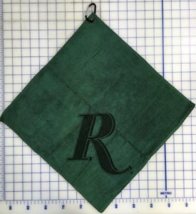 Forest green golf towel custom lasr etch logo