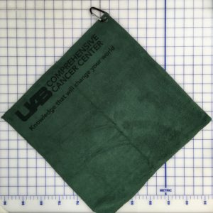 Forest green golf golf towel custom laser etch logo