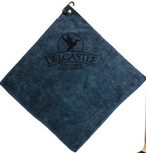 Navy blue golf towel custom laser etch logo under clip