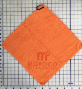 Orange golf towel custom laser etch logo