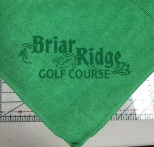 Green golf towel custom laser etch logo bottom corner