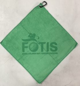 Shamrock green golf towel custom laser etch logo centered