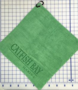 Shamrock green golf towel custom laser etch seam