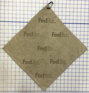 Tan golf towel custom laser etch logo